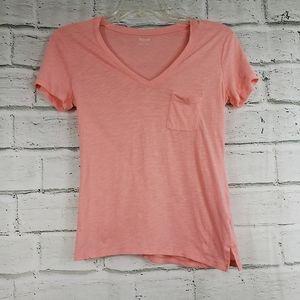 Madewell coral pocket tee shirt cotton